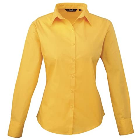 Premier Womens/Ladies Poplin Long Sleeve Blouse / Plain Work Shirt (8) (Sunflower)