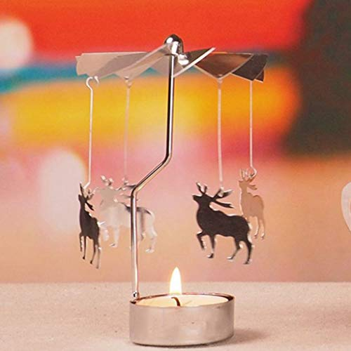 Wanfor Drehbarer Teelichthalter aus Metall Karussell Kerzenhalter Heimdekoration Geschenke, 9 Muster, Eisen, Silber, Deer