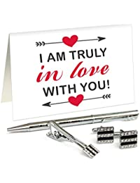 TiedRibbons® Unique Valentines Day Gifts For Men Silver Cufflinks,Tiepin And Pen Combo Set With Valentine's Special...