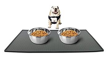 Ewolee Tapis Nourriture Chien Imperméable et Antidérapant, Tapis d'Alimentation pour animaux, Tapis pour Bac aliments pour chien et chat, Normes FDA de Première Qualité, Plus Large Dimension de 60x40 Centimètre, Gris