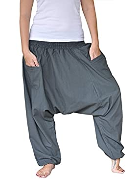 virblatt Pantalones cagados Color único Talla única con Entrepierna Profunda Unisex S – L Pantalones Harem para...