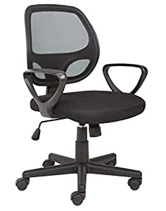 Office Essentials Mesh Back Swivel Desk Chair With Torsion Control, Black