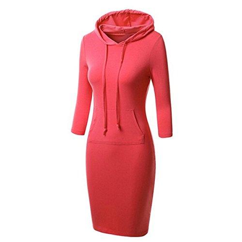 YL Heißer Frauen mit Kapuze Knie Längen Langer Entwurfs Normallack Pullover Kleid Sweatshirts(XXL,rot) (Aeropostale Hoodies Frauen)