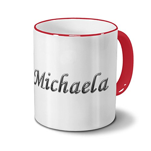 Tasse mit Namen Michaela - Motiv Chrom-Schriftzug - Namenstasse, Kaffeebecher, Mug, Becher, Kaffeetasse - Farbe Rot