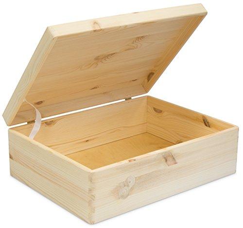 Universal Holzkiste mit Deckel für Aufbewahrung - Kiefer Naturbelassen Unbehandelt - ca. 40 x 30 x 14 cm - Grinscard