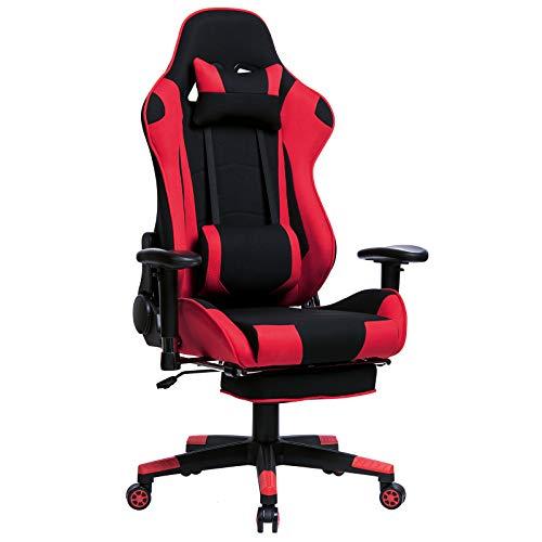 WOLTU® Gamingstuhl Racing Stuhl Bürostuhl Chefsessel Schreibtischstuhl Sportsitz mit Kopfstütze und Lendenkissen, Armlehne verstellbar, mit Fußstütze, Stoff, höhenverstellbar, Rot, BS27rt