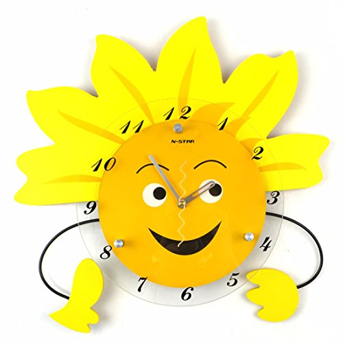 Wall Clock WERLM Kreative Schlafzimmer Wanduhr einfaches Leben sunflower Clock mute Uhren Wohnzimmer Karikatur Wanduhr wand - Karikatur-wand-uhr