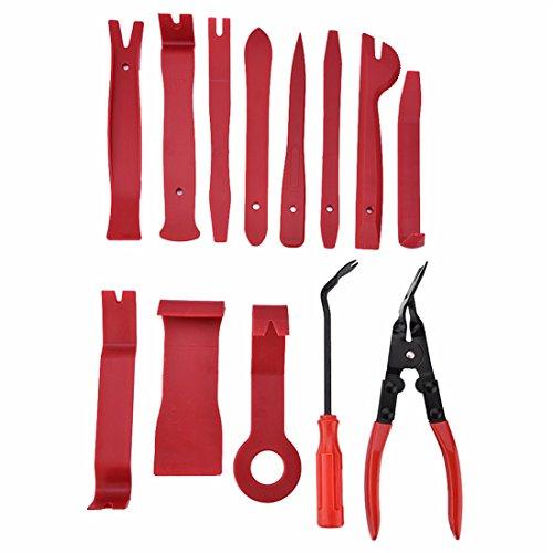 FEZZ Auto Zierleistenkeile Set Werkzeuge Reparatur Demontage Innen-Verkleidung für Türverkleidungs Lösewerkzeug innen Radio Audio Nylon 13 tlg.(Rot)