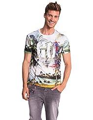 Desigual Go Explore - T-shirt - Empire - Imprimé - Col ras du cou - Manches courtes - Homme