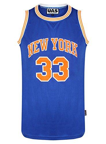 UrbanAllStars Herren American American Style Basketball Trikots Miami NY Chicago LA Brookly Unterhemd ärmellos Gr. XL, New York Blue 33