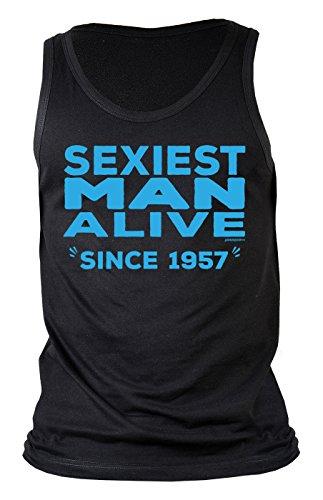 Männer-Geburtstags/Jahrgangstop/Träger-Shirt/Tank Top: Sexiest Man Alive since 1957 geniales Geschenk Schwarz