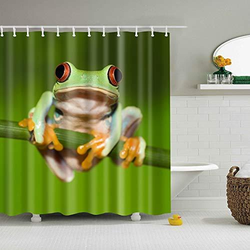 fdswdfg221 Grüner Hintergrund 1 Rote Augen Lustiger Frosch Gelbe Pfoten Lecken auf einem AST 3D Digitaldruck Feuchtigkeitsbeständiger Mehltau Badezimmervorhang 180X180CM + 12 Haken