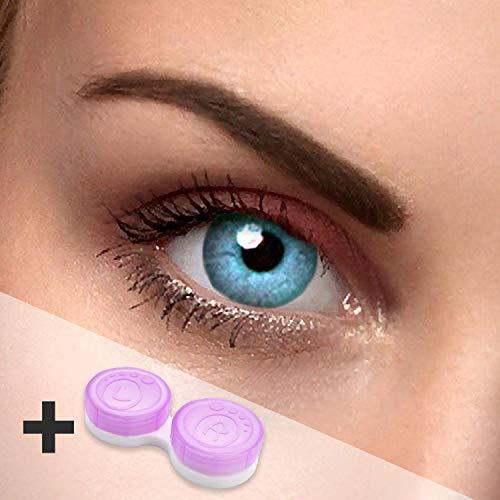 Eye Effect farbige Kontaktlinsen in vielen Farben für schöne natürlich Augen + gratis Kontaktlinsenbehälter (Blau ()