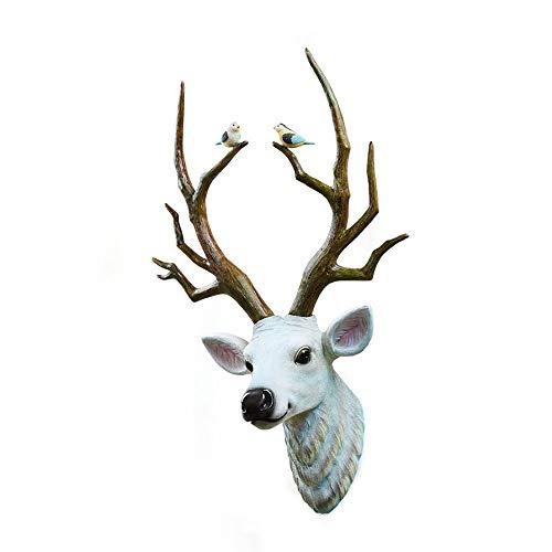 ZHOU Cabeza de Ciervo nórdico Resina Pájaro Tallado Decoración de la Pared Escultura Animal Colgante de Pared Sala de Estar Creativa Café Restaurante Decoraciones Colgantes de Pared
