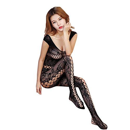 Ba Zha Hei Damen Dessous Open Mesh Bodysuits Schwarz Body Overall Open Crotch Body Strumpf Bodysuit Dessous Hohle Blumen Jumpsuit Nachthemd Transparent Reizwäsche Bodysuit (freie Größe, Schwarz) (Sheer Bra Stück 3)