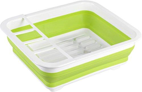 WENKO Geschirrabtropfer faltbar - Geschirr-Abtropfständer, Abtropfgestell für Geschirr und Besteck, 36,5 x 13 x 31 cm, weiß/grün