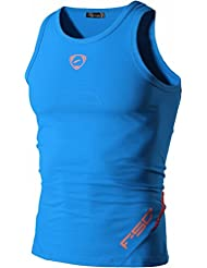 Jeansian Hombres Deportes Transpirables Wicking Quick Dry Vest Tee Tank Top Verano Correr Training LSL3306