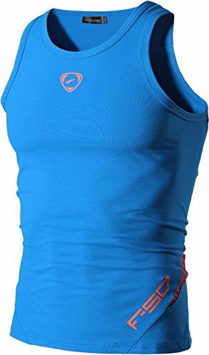 jeansian Herren Sportswear Quick Dry Sleeveless Sports Tank Tops LSL3306_LightBlue L