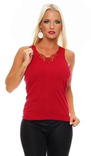 2er Pack Damen Unterwäsche mit Spitze (Unterhemd, Träger-Top, Shirt) Nr. 430 ( Blau-Rot / 52/54 ) - 3