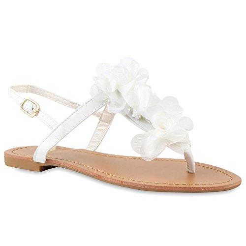 Damen Dianetten Blumen Sandalen Zehentrenner Sommer Flats Beach Zierperlen Schuhe 114995 Weiss 42 Flandell (Hochzeits-strand-sandalen)