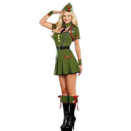 Erotic underwear-ZY Baby Dolls & Negligees für Damen ArmyGreen Cooles Cosplay Soldat Kostüm für Damen Adult Cosplay Army Green Military Masquerade Unterwäsche Anzug @ Wie Gezeigt_One_Size (Adult Baby Doll Kostüm)