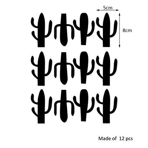 lankai Süß Kaktus Wand Abziehbilder Set Wohnzimmer Vinyl Schnitzen Wand Abziehbilder Aufkleber für Daheim Kinderzimmer Kinderzimmer Fenster Dekoration für Daheim Dekoration - Schwarz -