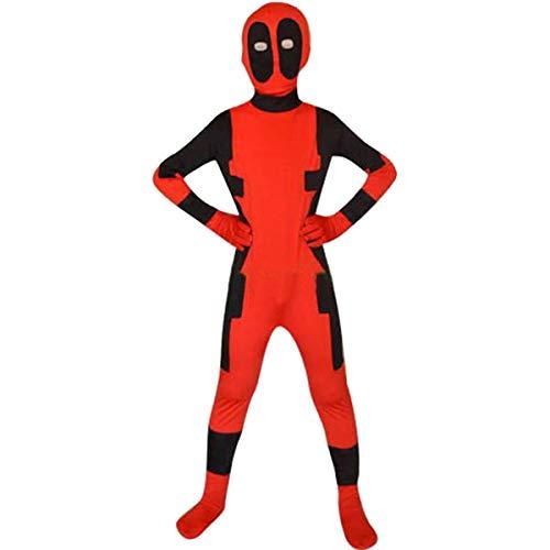 QQWE Deadpool Kostüm X-Men Deadpool Kinder Cosplay Body Bodysuit Spandex Jumpsuits,Red-XS