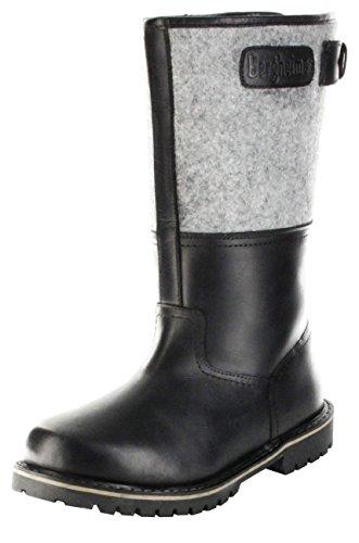 Bergheimer Trachtenschuhe Stiefel schwarz Leder Filz Herren Schuhe Glockner, Größe:42, Farbe:schwarz