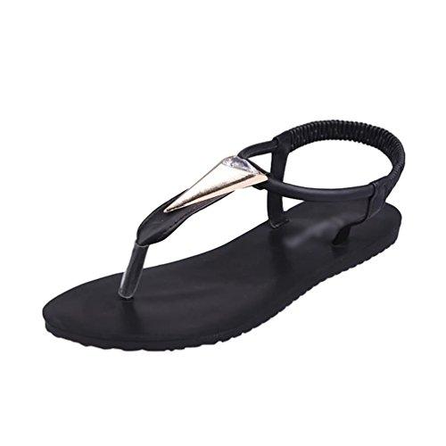 Sentaoa sandali da donna da estate pu cuoio bassi sandali da spiaggia elegante bohemia perline decorate (nero # 2, asia37)