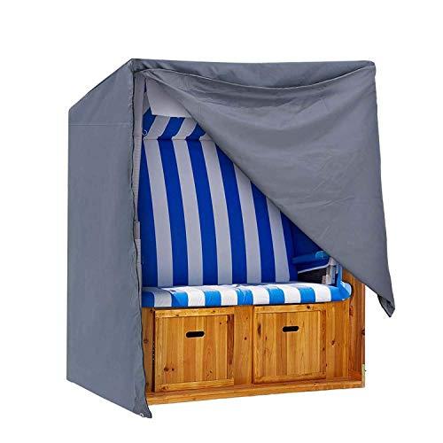 IPOTEK Cover Strandkorb Abdeckung Winterfest und Wasserdicht, Sonnencreme, UV- Beständig Strandkorb Premium Strandkorbhülle,Grau,128X105X140/165cm