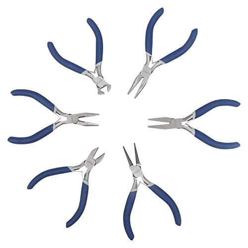 Kurtzy Set di pinze 6 pezzi - Set di pinze con pinze, tronchesi, pinze ad ago, pinze a becchi tondi, pinze a becco piatto -Pinces Coupantes per creazione di gioielli, utensili elettrici
