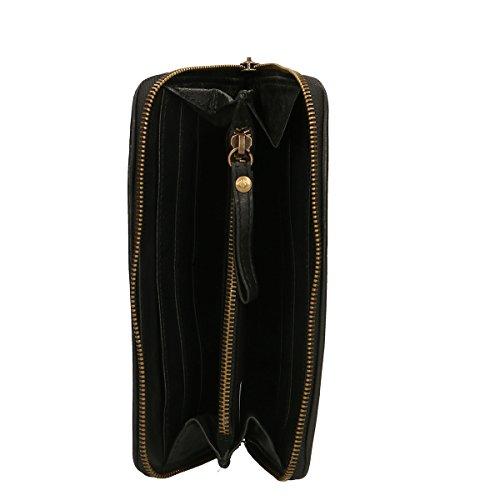 Chicca Borse Portafogli in pelle 22x12x3 100% Genuine Leather Nero