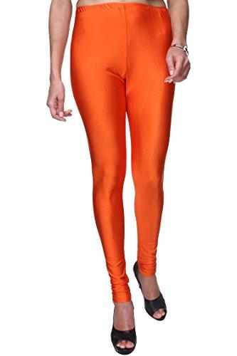 Trasa Shining Lycra Women's / Girls Full Length Churidar Orange Leggings -...