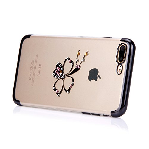 Custodia iPhone 7 Plus, iPhone 7 Plus Cover Silicone, SainCat Cover per iPhone 7 Plus Custodia Silicone Morbido, Custodia Bling Glitter Strass Diamante Silicone 3D Design Ultra Slim Silicone Case Ultr Trifoglio #3