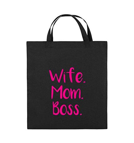 Comedy Bags - Wife Mom Boss - Jutebeutel - kurze Henkel - 38x42cm - Farbe: Schwarz / Silber Schwarz / Pink