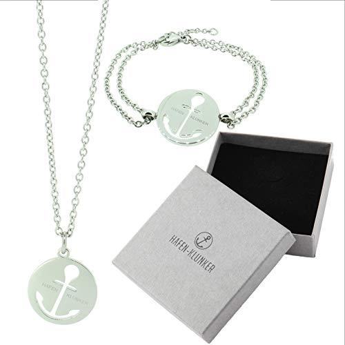 HAFEN-KLUNKER - Set: Glamour Halskette Anker und Armband 110462 Edelstahl Silber -