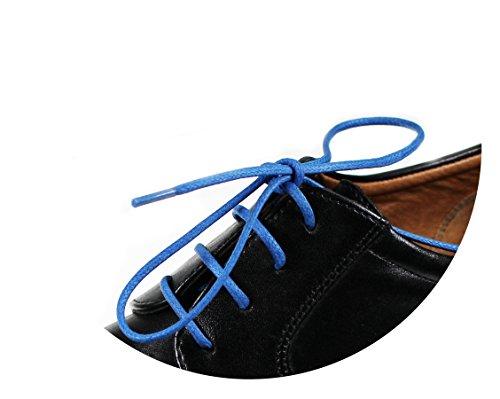 Loco!Laces- Gewachste, Bunte, farbige, runde Schnürsenkel für Business-Schuhe! 80cm Länge 3er Pack (3X Blau)