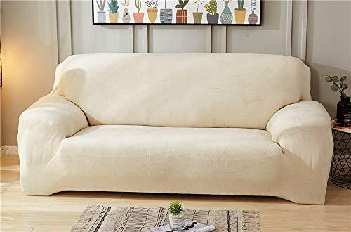Hava Kolari Sofabezug,1/2 / 3/4 Sitzer, Elastische Stretch Sofaüberwurf aus Samt, Sofa Couch Sessel Husse Bezug Decke Sofabezüge (Weiß,3 Sitzer)