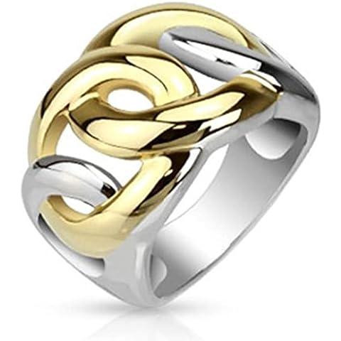 Paula & Fritz anello in acciaio inox larghezza 15 mm argento placcato foglia stampata anello (Kingdom Hearts Corona)