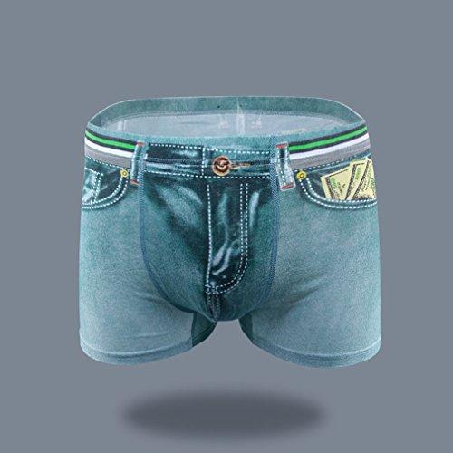 LnLyin Herren Unterwäsche Modelle Sexy Baumwolle Denim Unterwäsche Männer Gedruckt Denim Boyshorts Grün XL -