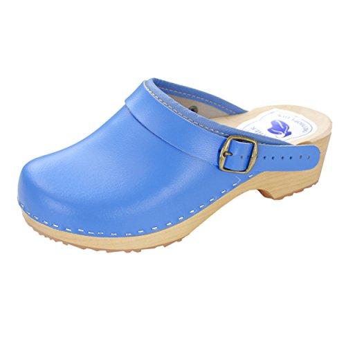 CLOGS Damen Pantoletten Holzclogs Leder Schuhe Geschlossen Holzsohle Bunte Farben Blau