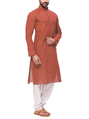 Rg Designers Men's Cotton Kurta (HandloomRustKurta_36_Brown_Small)