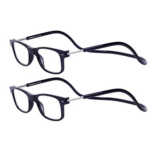 19c5e70392 Magnéticas Gafas de lectura Plegables 2-Pack Negro +1.5 Presbicia Vista  para Hombre y