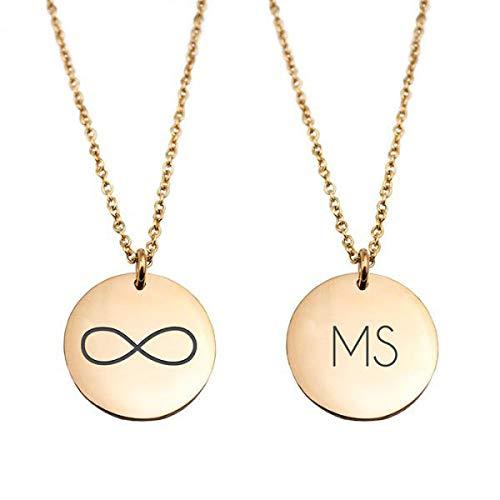Geschenke.de Damen Kette mit Gravur und rundem Plättchen - Infinity Zeichen und Initialen graviert goldf.