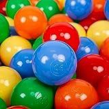 KiddyMoon 200 ∅ 7Cm L'ensemble De Balles Plastique pour Piscine Enfant Fabriqué en EU, Jaune/Vert/Bleu/Rouge/Orange