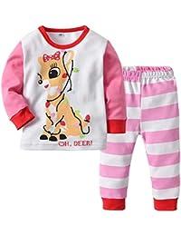 Baby Girl Christmas Pajamas Set Top camisa rosa y pantalón 2 piezas Homewear