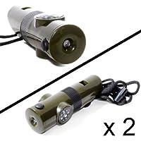 Set di 2multifunzione fischietto (6in 1) con termometro, bussola, luce