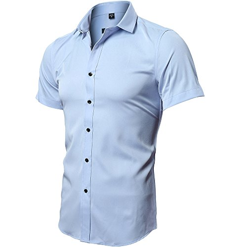 INFLATION Men's Classic Bamboo Short Sleeve Shirt Plain Slim Fit Stretch Formal Dress Shirt Casual Button Down Shirts For Men, 9 Colors