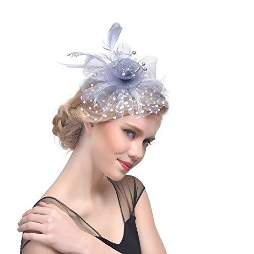 (Tao Feder Haarschmuck Mesh Tiara Hut Haarspange Kleid Kopfschmuck Top Hanf Garn Tiara Pferderennen Festival Melone (Farbe : Silver Grey))