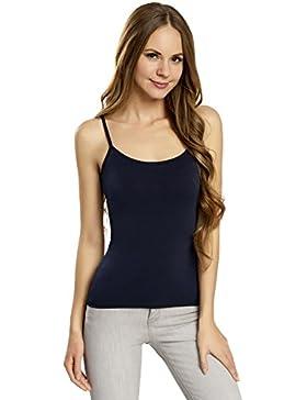 oodji Ultra Mujer Camiseta de Tirantes Finos Básica